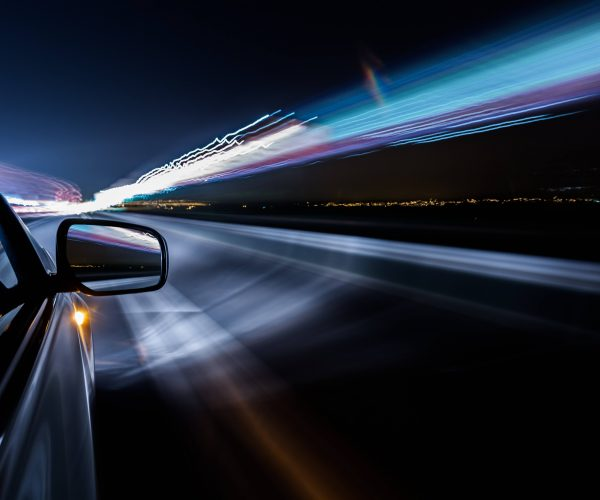 View from Side of high-speed car at night, Motion Blur,China.